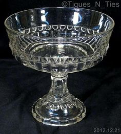 """EAPG """"Bar Flute"""" #400 pattern Footed Fruit Compote made by Riverside Glass Works circa 1892,  8.25""""H x 8.5""""D."""
