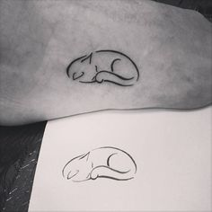 Little Tattoos — Sleepy cat tattoo on the foot. Tattoo artist: Ivy...