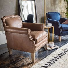 Upholstered in traditional tan leather this classic armchair has been carefully distressed to give it a well-loved, worn appearance. Tan Leather Armchair, Outdoor Armchair, Leather Club Chairs, Velvet Armchair, Armchair Table, French Armchair, Chesterfield Armchair, Yellow Armchair, Rattan Armchair