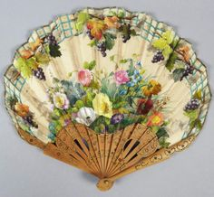 19c Victorian French Carved Wooden Hand Painted Silk Floral Hand Fan.