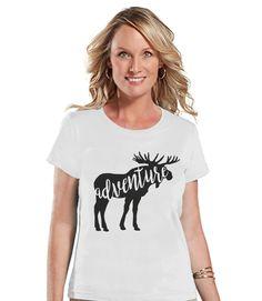 Camping Shirt - Adventure Shirt - Womens White T-shirt - Ladies Camping, Hiking, Outdoors, Mountain, Nature Tee - Funny Humorous Tshirt