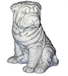 Zahradní betonová socha Pes šarpej sedící Z173