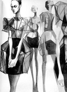 Watercolour fashion illustrations inspired by Irina Shaposhnikova's Crystallographica collection // Mengjie Di