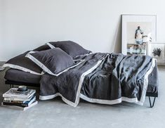 washed European linen duvet cover in grey finished with white colour border around. Linen Duvet, Color Blending, Your Perfect, Grey And White, Cosy, Comforters, Duvet Covers, Colours, Blanket