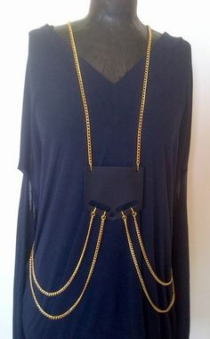 vest necklace, black leather and gold chain