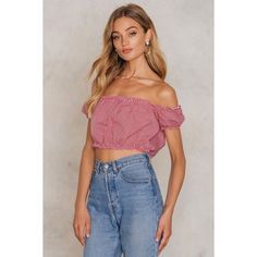 Trendyol Kirmizi Blouse ($22) ❤ liked on Polyvore featuring tops, blouses, red, crop tops, off-shoulder tops, red off the shoulder top, red top and red off shoulder top