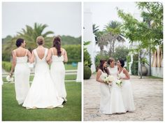 Green and white Alys Beach #wedding | It's a Shore Thing Wedding Planning | Candice K Photography | Events by Nouveau | Confections on the Coast  White bridesmaids dresses.  Gorgeous, simple, classic!