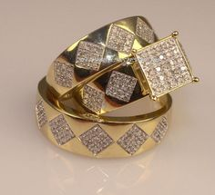 10K Yellow Gold His Her Diamond Engagement Bridal Wedding Band Trio Ring Set #SolitaireWithAccents