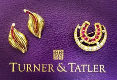 We are ready for tomorrow Saturday November 5th for our #trunkshow at #Neimanmarcus White Plains store come and meet Cindy Chaplin creator of #Turner&Tatler we will be showcasing many beautiful pieces like these #ruby and #gold #earrings and this #antique #crescent & #horseshoe with old cut #rubies #splitpearl and #oldeuropeandiamond #brooch