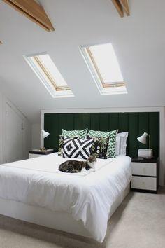 Attic Bedroom; long headboard creates regularity, headroom & storage space behind