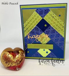 This Designer series Paper Noble Peacock and Noble Peacock Foil Sheets are stunning on their own, with the colours so rich and beautiful. Stampin Up Catalog, Masculine Cards, Happy Anniversary, Cardmaking, Peacock, Colours, Paper, Bees, Stamping