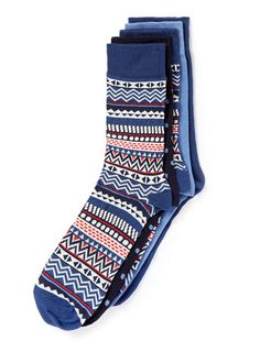Aztec Pattern 5 Pack Socks - Mens Socks  - Clothing