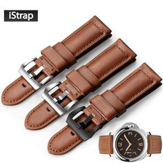 >> Click to Buy << iStrap Watchband 24mm Genuine Leather Watch Strap Stainless Steel Buckle Replacement Band For Panerai Luminox 44mm case #Affiliate