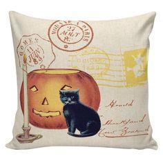 Halloween Pillow Vintage Jack O Lantern Pumpkin Postcard Burlap Cotton Throw Pillow Cover #HA0153 by ElliottHeathDesigns on Etsy https://www.etsy.com/listing/205210944/halloween-pillow-vintage-jack-o-lantern