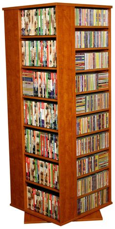 Features: -Rotates -Organizes all media. -Nearly all shelves are adjustable, accommodating odd sized media. -Gently contoured and stylishly molded to add value. -Made from durable wood lami Movie Storage, Cd Storage, Bookshelf Design, Bookcase Shelves, Bookcases, Coin Tv, Record Player Stand, Book Furniture, Storage Center