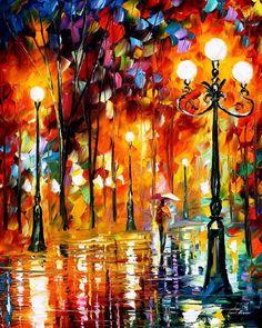 """Einsame Nacht 3-Spachtel glatt bunte Landschaftsölgemälde auf Leinwand von Leonid Afremov. Größe: 24 """"X 30"""" Zoll (60 cm x 75 cm)"""