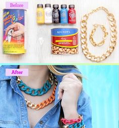 """Transform last season's chunky chain necklace into a bold new accessory: """"Mix one fourth of a can of Plasti-dip with the color tint of your choice in an aluminum can—Plasti-dip won't chip like regular paint,"""" explains Radosevich. """"Dip the chain into the mixture, letting excess paint drip off for a minute, then hold it another five minutes to let it harden."""" Allow it to dry completely overnight"""