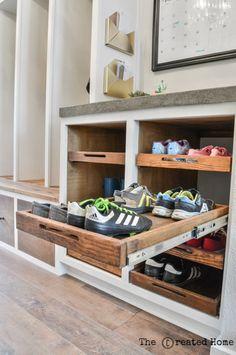 Schuhschrank mit Tabletts Shoe Storage Cabinet with Trays – The Created Home - Aufbewahrung Diy Shoe Storage, Diy Shoe Rack, Shoe Storage Cabinet, Bench With Shoe Storage, Storage Cabinets, Diy Cabinets, Shoe Racks, Shoe Storage Utility Room, How To Build Shoe Storage
