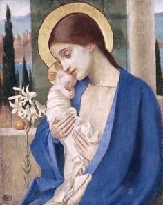 Marianne Stokes (Austrian-born English artist, 1855-1927) ~ Madonna and Child
