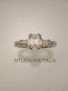Diamond Engagement Ring, Emerald Cut Diamond, Engagement Ring, Diamond Baguette Ring, R547