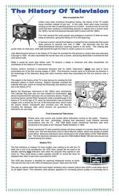 Interesting reading to know how was the television invented, with reading comprehension exercises such synonyms, opposites and questions on the text. (Key included) I hope you like it! English Reading, English Writing, English Words, English Lessons, Learn English, Spanish English, Comprehension Exercises, Reading Comprehension Activities, Reading Worksheets