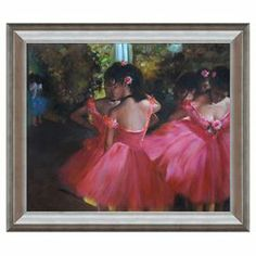 "Lend a touch of artful intrigue to your living room or den with this eye-catching canvas print of Dancers in Pink by Degas.   Product: Wall artConstruction Material: Canvas and woodFeatures:  Hand-paintedReady to handCertificate of authenticity included Dimensions: 29"" H x 25"" W x 2"" DCleaning and Care: Wipe with a damp cloth"