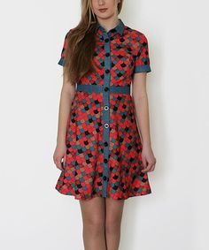Take a look at this Red & Blue Scales Button-Up Dress on zulily today!