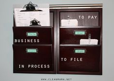 Organize important bills and paperwork vertically to save space. All sorts of great bill paying and organizing tips!