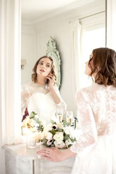 Short lace wedding dress with long sleeves by Alesandra Paris  Photo credit: Next Door Stories  #shortweddingdress #robedemarieecourte