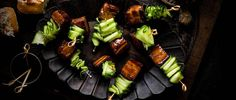 These pork-belly skewers with Vietnamese caramel sauce make easy but impressive canapés