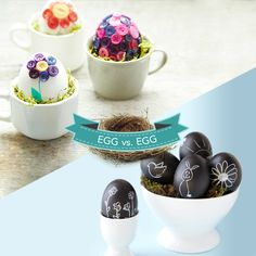 Button or chalkboard eggs? Which should make it to round two? Learn how to recreate these looks by clicking the image.