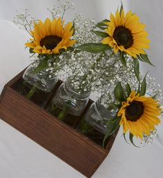 Simple Sunflowers and Baby's breath in a crate