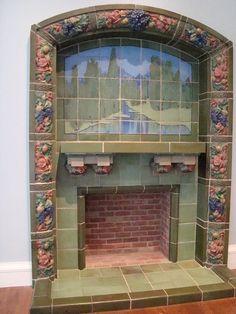 rookwood fireplace - CAM @rubylanecom #VintagePottery #rubylane