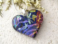 Dragonfly  Dichroic Jewelry  Rainbow Heart  Heart by ccvalenzo, on Etsy