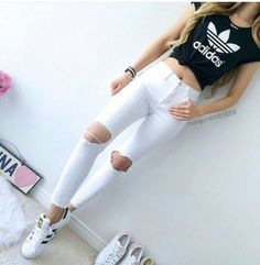 Beautiful Cute Outfits With Jeans And Crop Tops  Adidas Crop Top Cute Jeans Outfit Image By On Favim