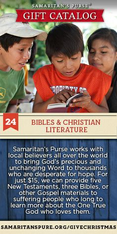You can provide New Testaments, Bibles, and other Gospel materials to people who long to learn more about God