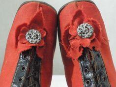 Vintage Victorian 1860's 1870's Children's Red Wool Black Leather High Top Shoes   eBay: johnsartifactorium
