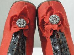 Vintage Victorian 1860's 1870's Children's Red Wool Black Leather High Top Shoes | eBay: johnsartifactorium