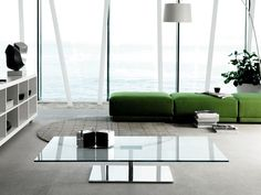Furniture: Rectangular Glass Coffee Table With Arch Floor Lamp As Well As Round Rugs And Green Bench For Contemporary Living Room Design Square Glass Coffee Table, Modern Glass Coffee Table, Coffee Table With Shelf, Mirrored Coffee Tables, Contemporary Coffee Table, Glass Table, Modern Table, Glass Furniture, Large Furniture