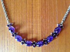 VTG-Schiaparelli-signed-PURPLE-Art-Glass-Rhinestone-Necklace-STUNNING