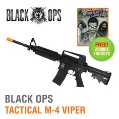 Black Ops Tactical M-4 Viper Airsoft Assault Rifle with FREE Zombie Airsoft Targets