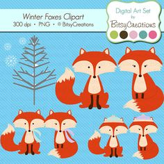 Winter Fox Clipart Digital Art Set by by BitsyCreations on Etsy, $5.00