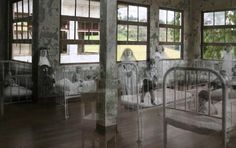 GHOSTS OF DURAN SANATORIUM in Costa Rica  photo taken by Efrain Gonzalez Buitrag for his project Yesterday and Today combining old photo images with today - Historical old photos superimposed / combined with more recent pictures at the same location / scene