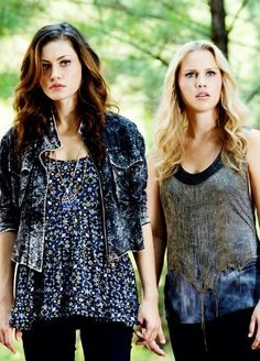 Claire Holt and Phoebe Tonkin in The Vampire Diaries
