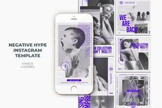 Negative Hype Instagram Templates by Azruca on @creativemarket Instagram Story Template, Instagram Templates, 4 Story, Image Model, Text Tool, Logo Background, Social Media Template, Layout Template, Site Website