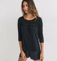 30€ T-shirt+avec+tulle+brodé+Femme