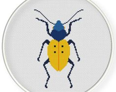 Instant download,free shipping,Cross stitch pattern, PDF,  yellow beetle ,ZXXC0579