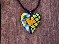 ** Dichroic Fused Glass Heart Shaped Pendant Jewelry  @PureLightStudio