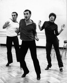 Michael Bennett rehearses with Bob Avian (left) and Margo Sappington (right).   Photo by Friedman-Abeles, courtesy of Dance Magazine Archives.