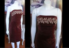 Lovely Vintage 1950s Brown Velvet Wiggle Dress Shelf Bust With Lace Mad Men Great Condition by WestCoastVintageRSL, $98.00